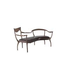新中式现代中式黑胡桃+全清皮休闲椅  样板房别墅高档家具