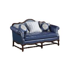 简美实木框架蓝色真皮二位沙发